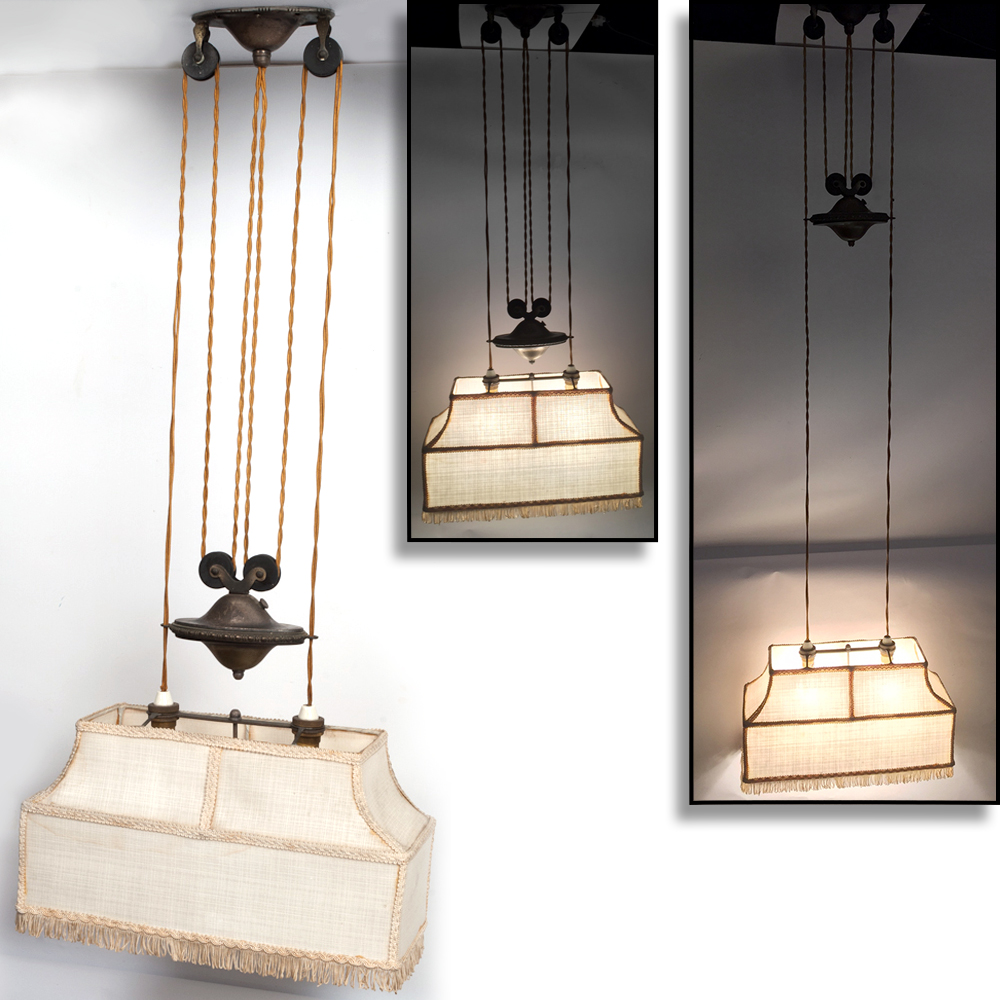 1930's Pull Down Lamp Shade Vintage Ceiling Drop Pulley