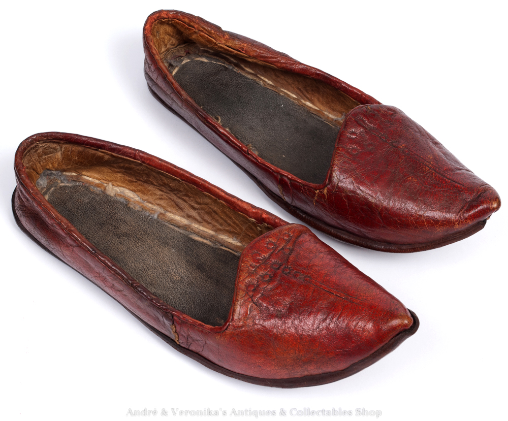 antique oxblood leather moroccan mules shoes child