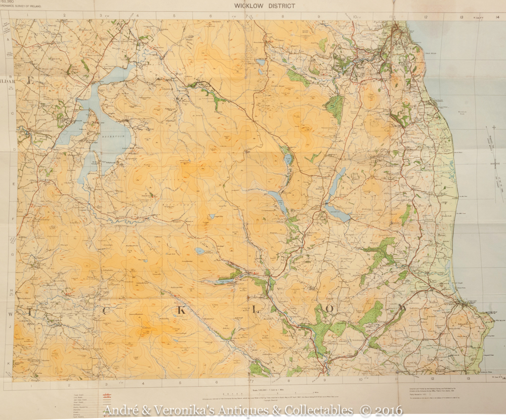 1954 Map Wicklow District Amp Town Bray Blessington Ideal